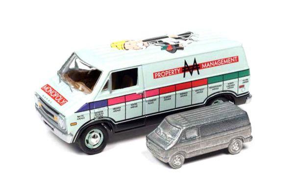 JOHNNY LIGHTNING 1/64scale 1977 Monopoly Dodge Van & Token (Monopoly piece)  [No.JLPC002ABL]