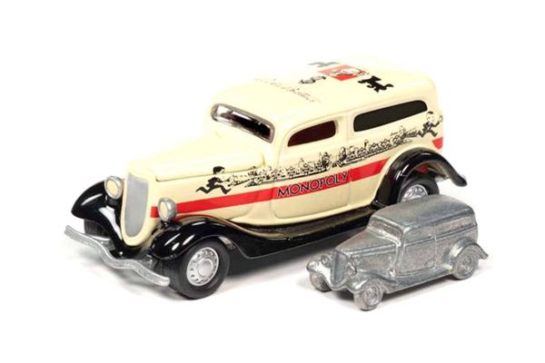 JOHNNY LIGHTNING 1/64scale Monopoly 1933 Ford Panel Track (Cream / Black) with Token (Monopoly Piece)  [No.JLSP093]