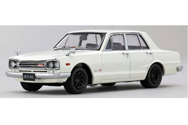KYOSHO 1/43scale Nissan Skyline 2000GT-R 1969 Early Type Wide Wheel Version PGC10 (4-Door / with Engine) White [No.K05511W]