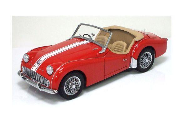 KYOSHO 1/18scale Triumph TR3A Red /White Stripe Interior:Beige [No.K08032R]
