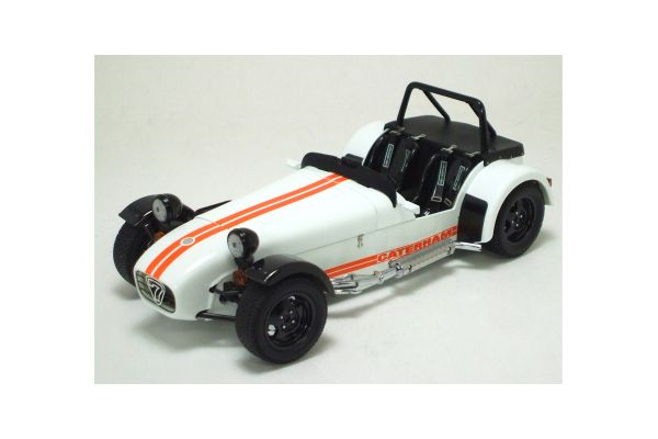 KYOSHO 1/18scale CATERHAM SUPER SEVEN JPE CYCLE FENDER WHITE/ORANGE STRIPE [No.K08225W]