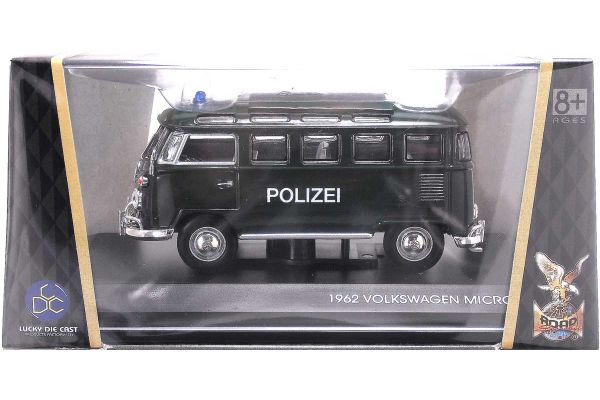 LUCKY DIE CAST 1/43scale 1962 Volkswagen Microbus (Police Version) GREEN [No.LUC43210GR]