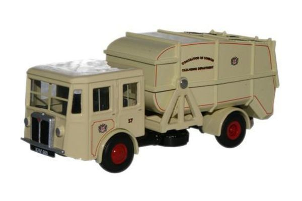 OXFORD 1/76scale Corporation of London Shelvoke & Drewry Dustcart (ivory)  [No.OX76SD005]