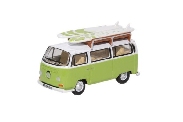 OXFORD 1/76scale VW Bay Window Bus with surfboard Lime Green / White  [No.OX76VW028]