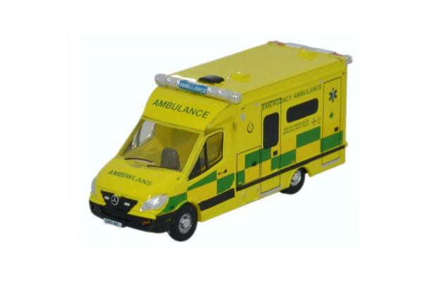 OXFORD 1/148scale Mercedes Ambulance Wales Yellow / Green [No.OXNMA001]