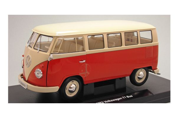 WELLY 1/18scale VW T1 bus 1963 (WINDOW VAN) Red [No.WE18054R]