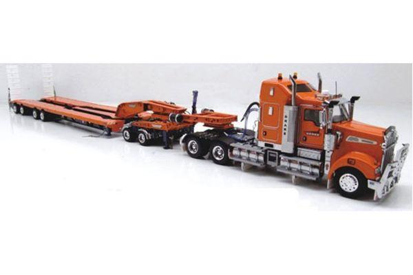DRAKE 1/50scale KENWORTH T909  + DRAKE 2x8 DOLLY + DRAKE 4x8 SWINGWING トレーラー ドレイクオレンジ [No.ZT09028]
