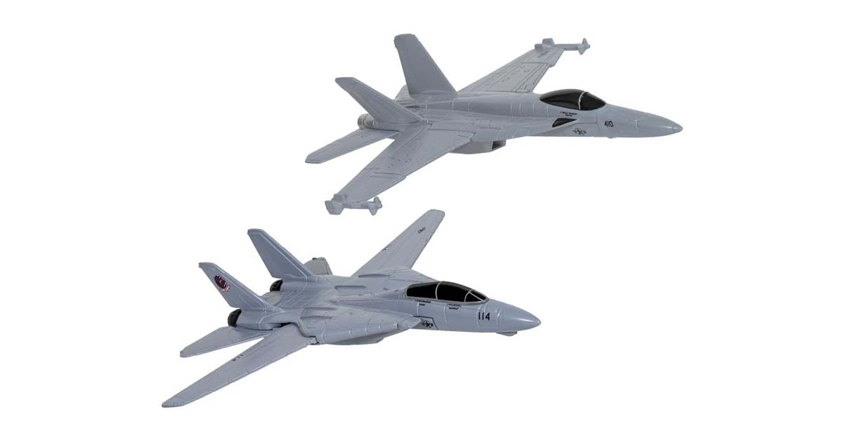 Maverick & Goose's F14® Tomcat® (Top Gun, 1986) and Rooster's F/A-18 Hornet™ (Top Gun Maverick, 2020)